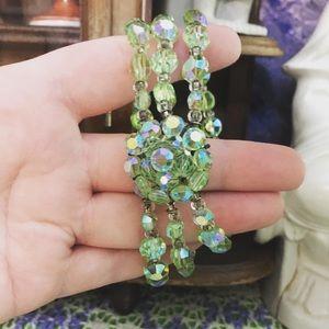 VTG Green Austrian Crystal Beaded Bracelet